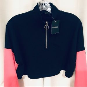 NWT forever 21 black crop sweatshirt size small